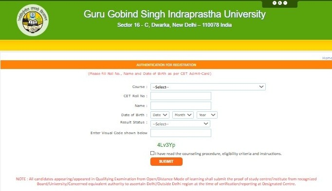 GGSIP COUNSELLING REGISTRATION WINDOW