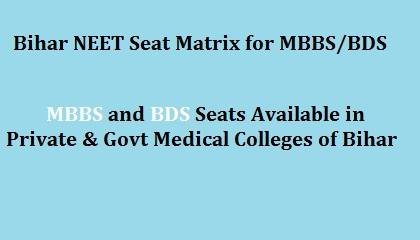 Bihar NEET counselling seat matrix, BiharNEET Seat Matrix for MBBS and BDS