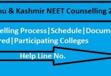 J&K NEET 2018 Counselling, J&K NEET Counselling, J&K MBBS BDS Neet Counselling,J&K Neet Counselling 2018