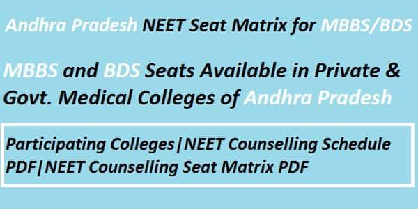 Andhra Pradesh NEET Seat Matrix, Andhra Pradesh NEET counselling seat matrix, Andhra Pradesh NEET Couselling