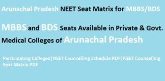Arunachal Pradesh NEET Seat Matrix, Arunachal Pradesh NEET counselling seat matrix, Arunachal Pradesh seat matrix