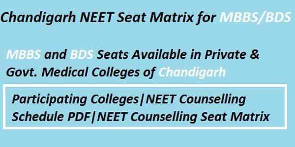 Chandigarh NEET counselling seat matrix, Chandigarh NEET Seat Matrix