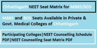 Chhattisgarh NEET Seat Matrix, Chhattisgarh NEET counselling seat matrix, Chhattisgarh NEET Counselling Seat Matrix
