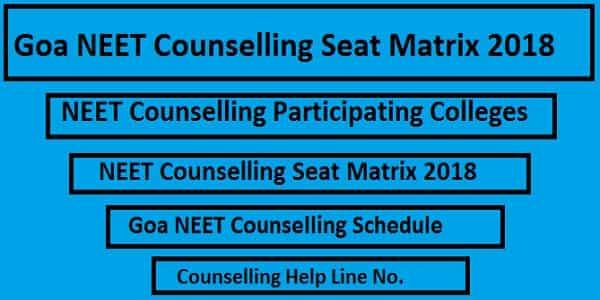 Goa NEET counselling seat matrix, Goa NEET Seat Matrix,Goa NEET Counselling