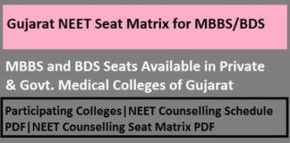 Gujarat NEET counselling seat matrix, Gujarat NEET Seat Matrix, Gujarat NEET Seat Matrix