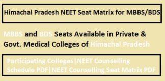 Himachal Pradesh NEET Seat Matrix, HP NEET counselling seat matrix, Himachal Pradesh seat Matrix