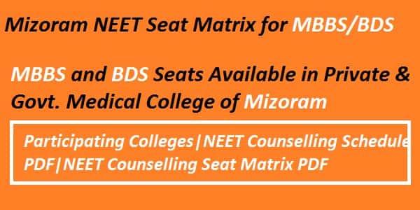 Mizoram NEET Seat Matrix, Mizoram NEET counselling seat matrix, Mizoram Counselling