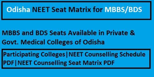 odisha NEET seat matrix, Odisha NEET counselling seat matrix, Odisha NEET Counselling