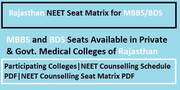 Rajasthan NEET counselling seat matrix, Rajasthan NEET Seat Matrix, Rajasthan NEET Counselling