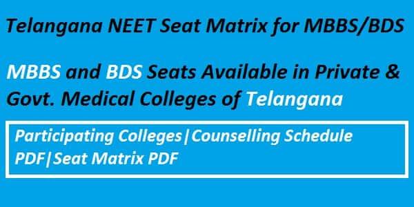 Telangana NEET Seat Matrix, Telangana NEET counselling seat matrix, Telangana NEET Counselling