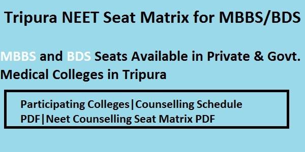 Tripura NEET Seat Matrix, Tripura NEET counselling seat matrix, Tripura NEET Counselling