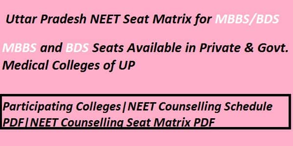 UP NEET counselling seat matrix,UP NEET Seat Matrix, UP NEET Participating Institute, UP Neet Counselling