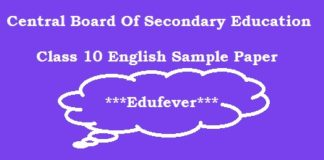CBSE Class 10 English Sample Paper, CBSE Class X English Sample Paper