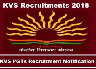 KVS PGT Recruitment 2018, Kvs PGT Recruitments notification 2018