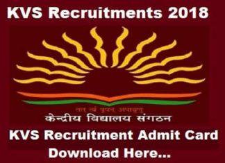 KVS recruitment Hall ticket, Kvs Recruitments admit card 2018