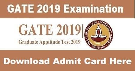 GATE 2019 Admit Card, Admit Card for GATE 2019 Exam, GATE 2019 Hall Ticket, GATE Admit card