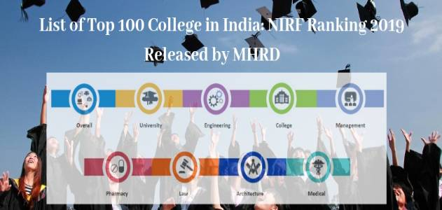 NIRF Ranking 2019 for Top 100 college