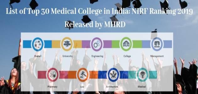NIRF 2019 top 30 Medical college in India, NIRF Ranking 2019 for Top 30 Medical college in India, Top 30 Medical college in India NIRF Ranking, NIRF Ranking Top 30 Medical college in India, NIRF Ranking 2019 for Top 30 Medical college