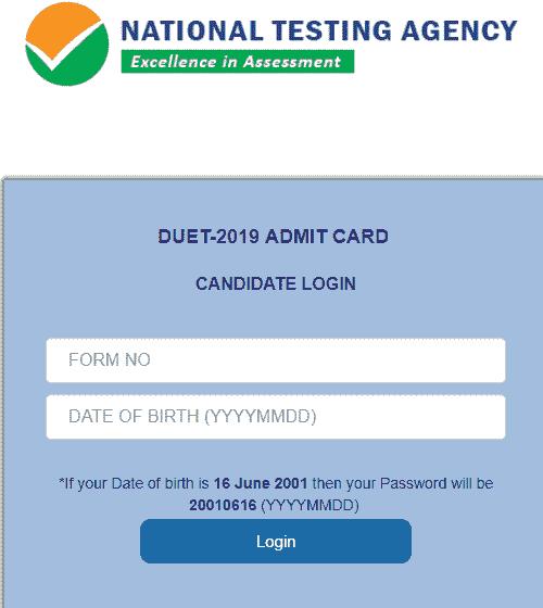 DUET Admit Card